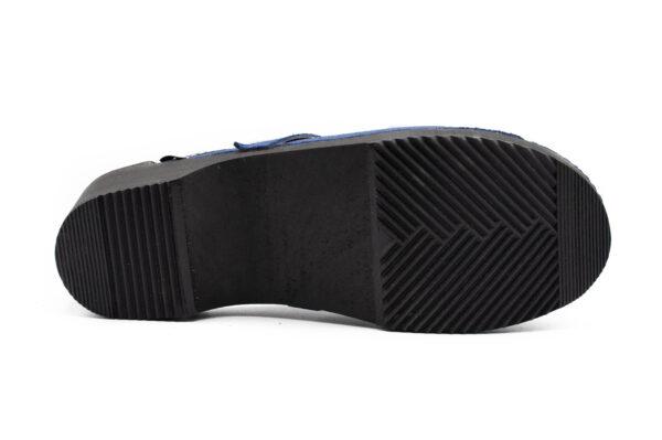 Handmade Clogs - Black Sole Blue Suede