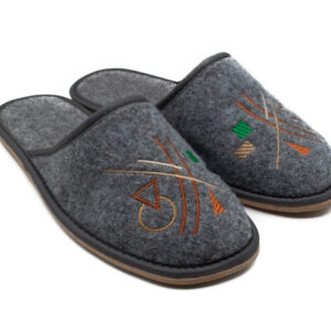 Slippers - Grey Embroidered